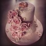 Dåpskake store roser