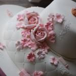 Dåpskake rosa detaljer